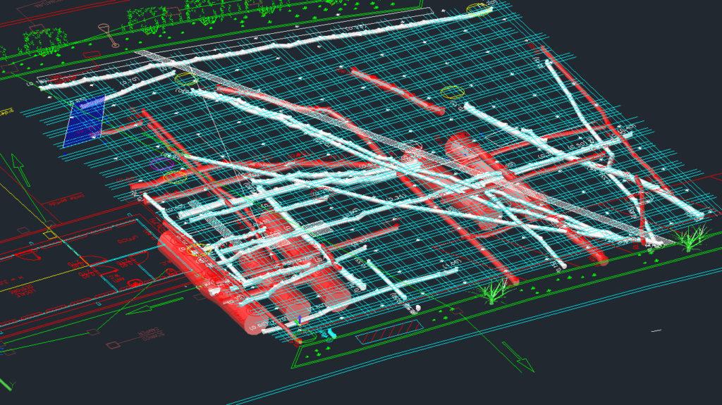 Risultati delle scansioni Georadar. I sottoservizi segnati in rosso indicano quelli metallici, mentre quelli in bianco sono quelli in PVC
